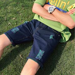 夏装新款短裤牛仔裤五分裤中裤休闲日系港风破洞直筒裤 G06/P40