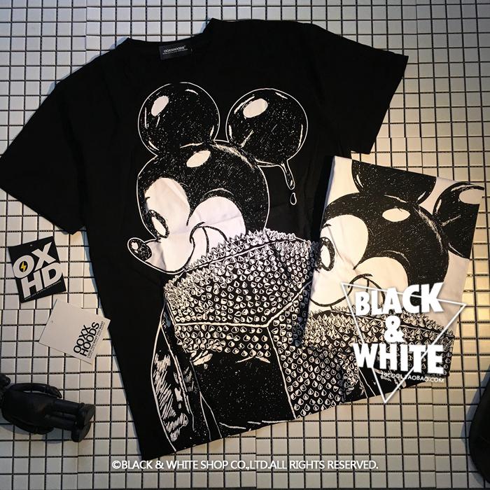 包邮 2019原创设计背影邪恶朋克punk摇滚rock米奇纯棉短袖T恤男女