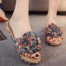 夏季亚麻 棉拖鞋女夏家居室内外情侣碎花防滑浴室居家可爱凉拖鞋