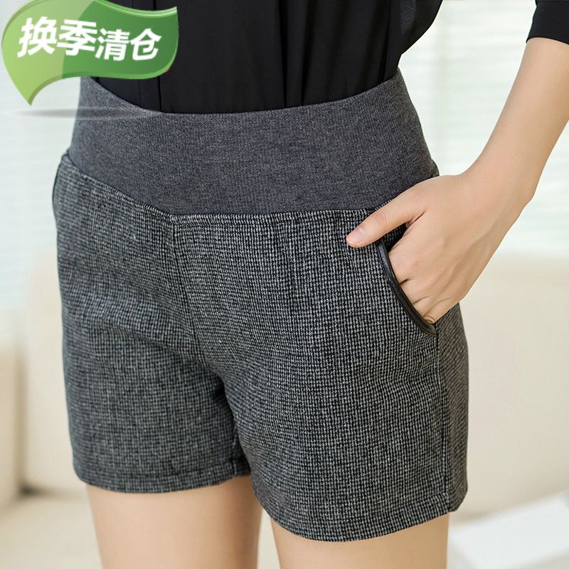 Autumn high waisted tweed shorts for women in autumn and winter wear large size to show thin and versatile bottomed leather boots pants Plaid casual pants