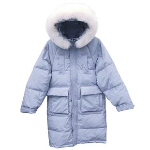 寬鬆大碼韓版羽絨服女士中長款加厚過膝連帽真狐狸毛領白鴨絨外套