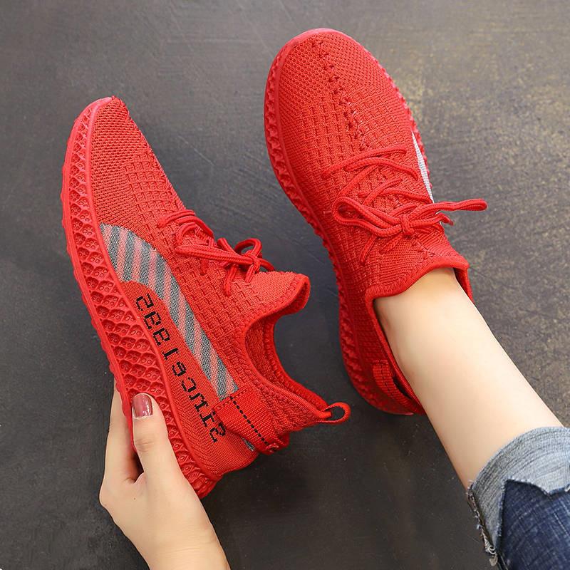 椰子鞋女士飞织运动跑步鞋2021新款小红鞋子学生韩版百搭透气女鞋