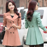 Spring and Autumn Korean version of the thin section of the jacket 2017 new women's double-breasted long-sleeved simple size was thin skirt coat