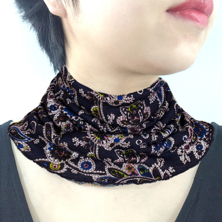 Fine wool thin neckband womens condom spring and autumn winter versatile false collar neck cover printed middle-aged and old peoples neck scarf