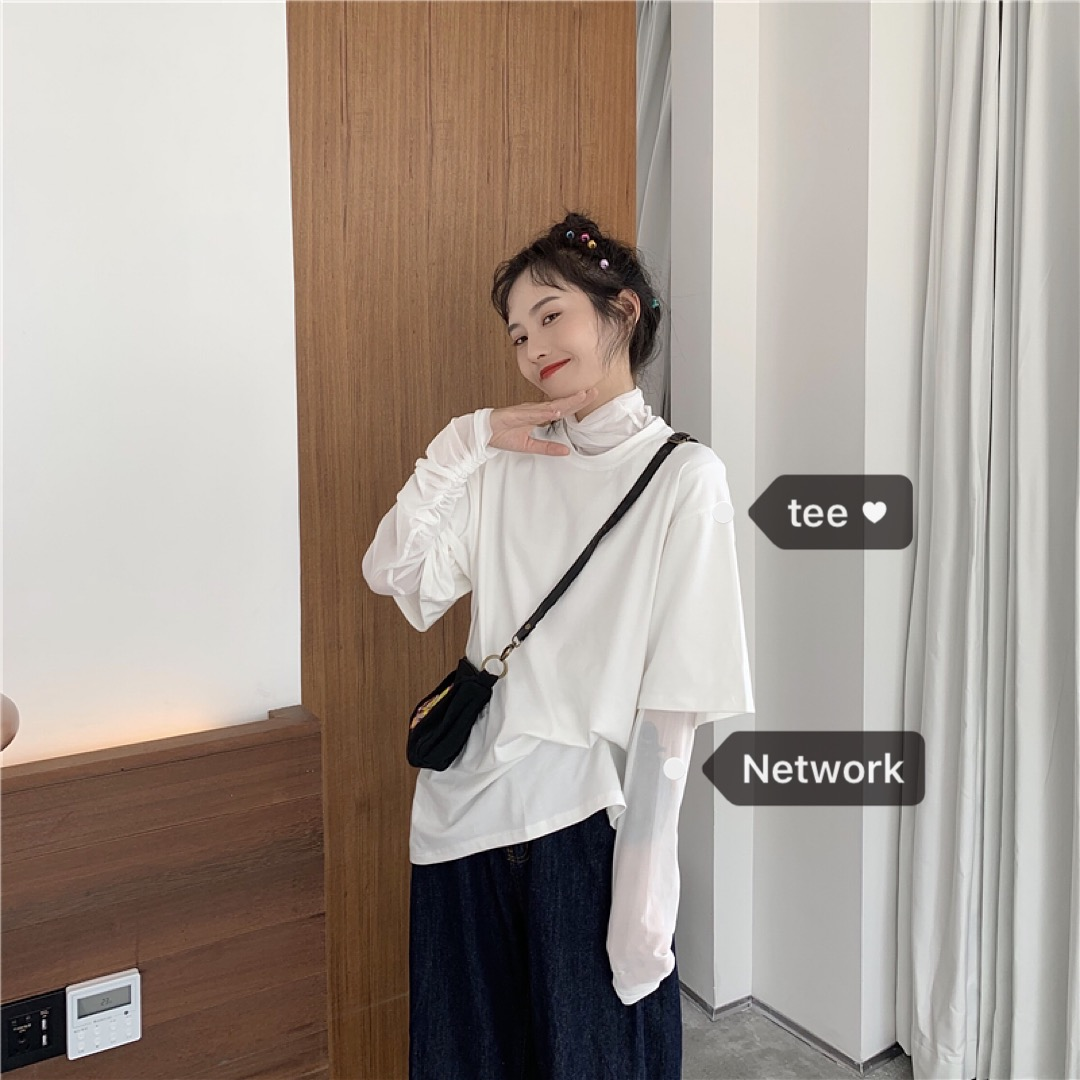 有赠品樱花麻豆韩风chic小众设计后背镂空T恤+彩色网纱显白防晒打底衫女