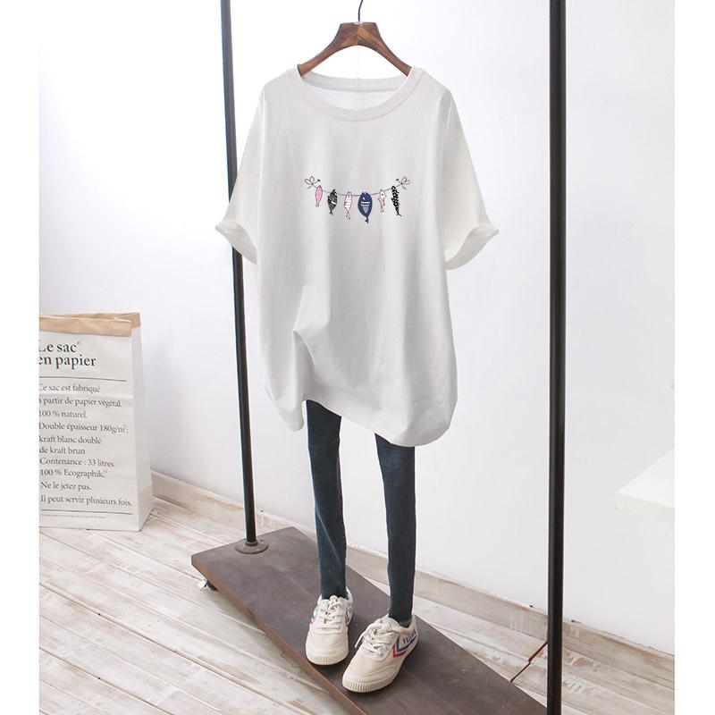 大码女装2020夏装时尚卡通印花宽松短袖T恤上纯棉衣遮肚减龄上衣图片