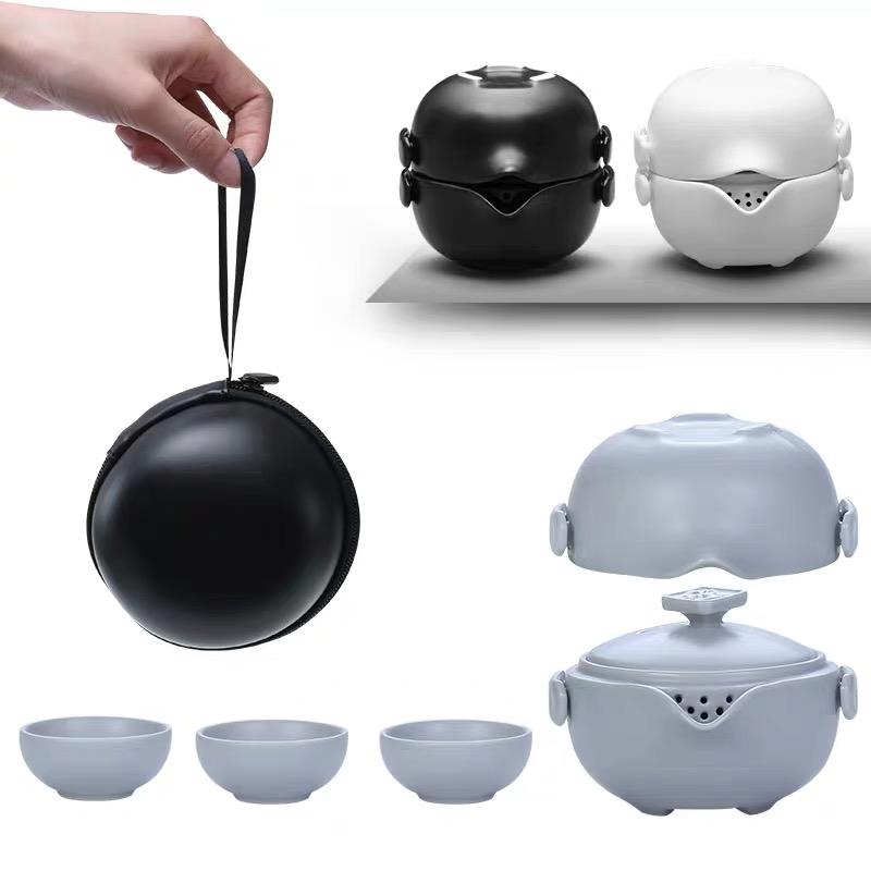 快客杯一壶三杯便携式陶瓷功夫茶杯旅行茶具套装简约小套礼品定制