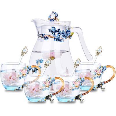 创意珐琅彩兰梅水杯水壶套装家用花茶杯果汁杯耐热玻璃杯个性杯子