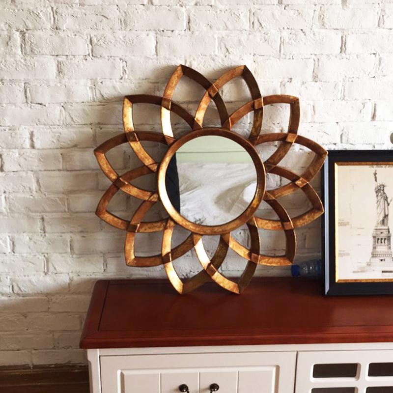 欧式挂镜梳妆镜卧室玻璃化妆卫浴镜装饰镜壁挂浴室镜玄关太阳镜子