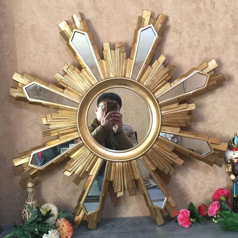 欧式复古装饰太阳镜子玄关浴室壁挂田园梳妆镜树脂环保镜客厅镜