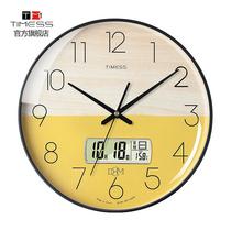 TIMESS钟表挂钟客厅家用时尚创意挂墙简约石英电子免打孔轻奢时钟