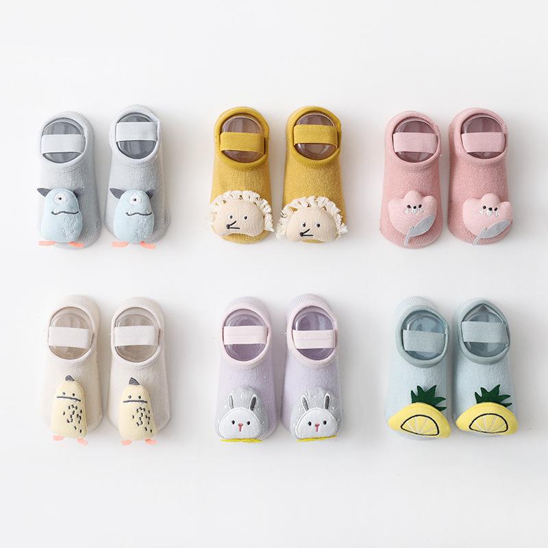 21年春夏新款儿童地板袜宝宝婴儿家居硅胶防滑学步袜绑带鞋袜短袜