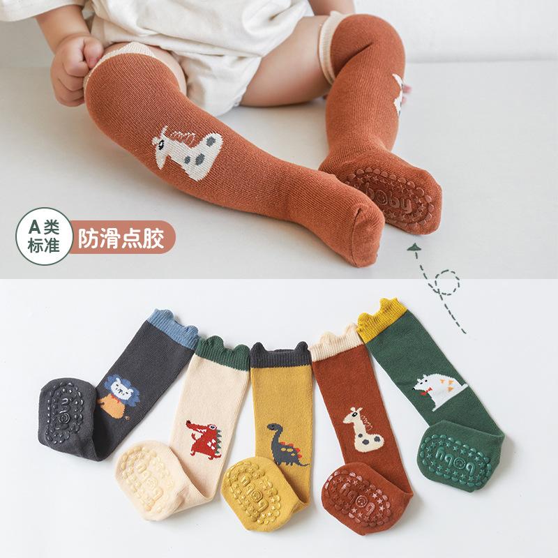 21年秋冬新款宝宝袜子卡通立体耳朵婴儿长筒袜防滑点胶幼儿地板袜