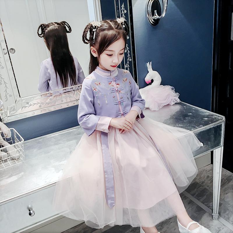 12月02日最新优惠女童秋装2019新款小女孩汉服童装儿童秋季古装中国风超仙唐装裙子