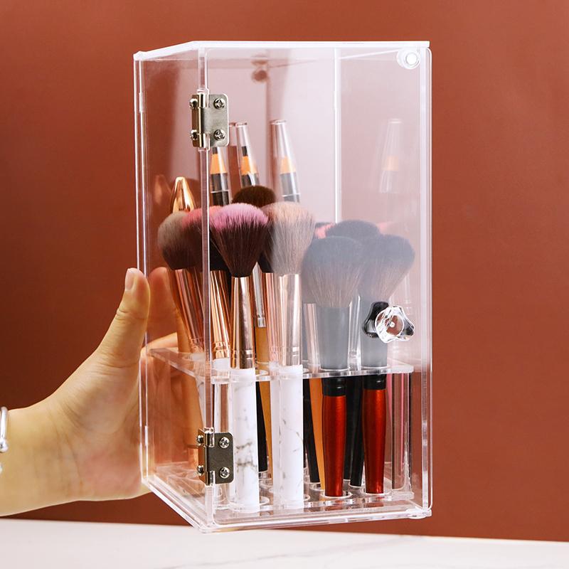 新品亚克力防尘化妆刷收纳盒眉笔粉刷收纳筒 笔筒 桌面整理展示架淘宝优惠券