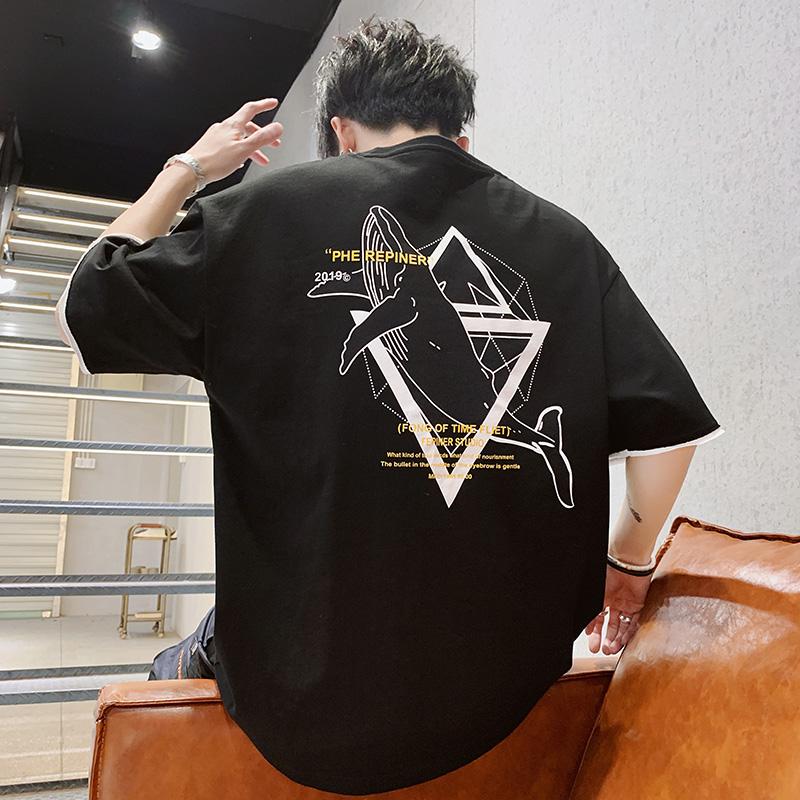 夏季新款男士短袖t恤新款拼色打底衫五分半袖潮流上衣 DT76-P30券后60.00元