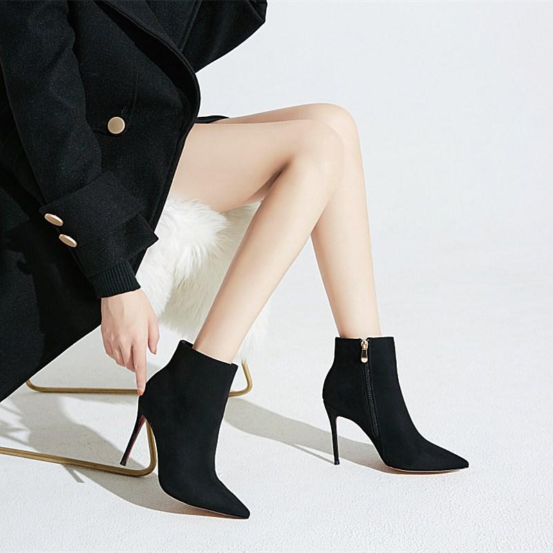 高跟鞋女秋冬2020新款网红短靴瘦瘦靴细跟黑色马丁靴女短筒裸靴子图片