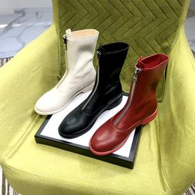 女冬加绒白色短靴子2019新款马丁靴