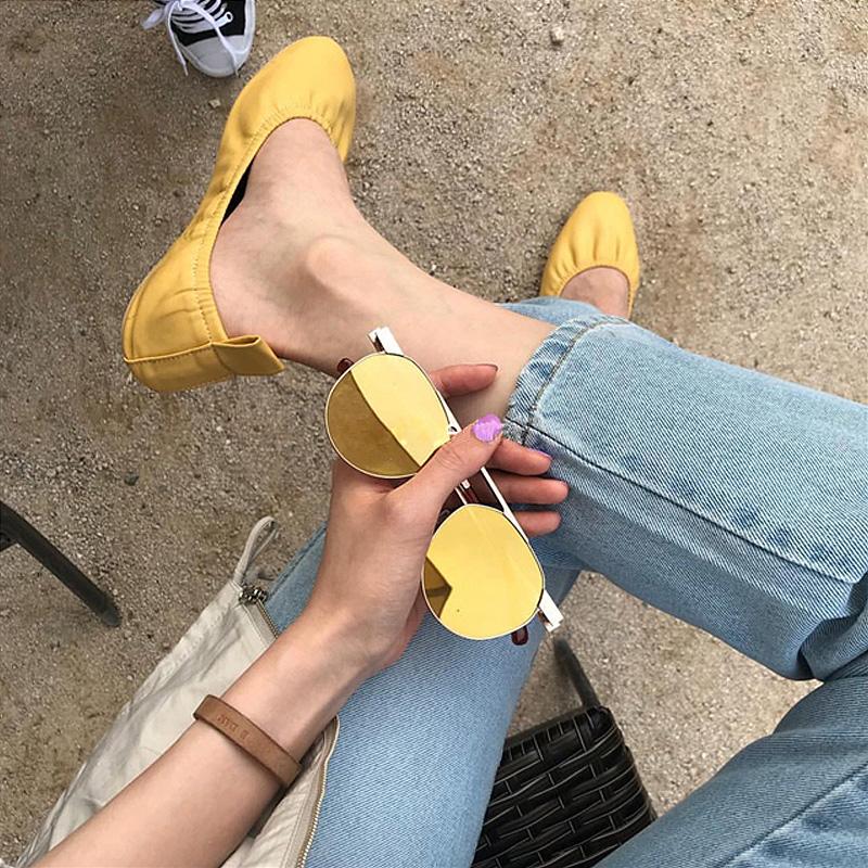 鞋子女2019新款复古奶奶鞋单鞋女平底蛋卷芭蕾舞鞋真皮懒人鞋春夏
