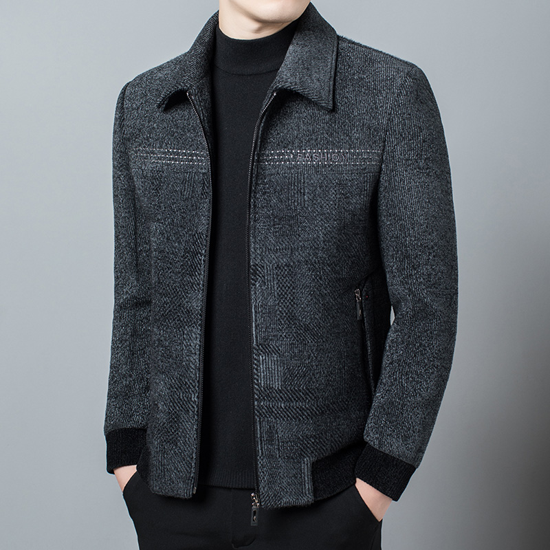 Lapel jacket mens spring and autumn woolen jacket middle-aged mens woolen coat middle-aged and elderly dads coat.