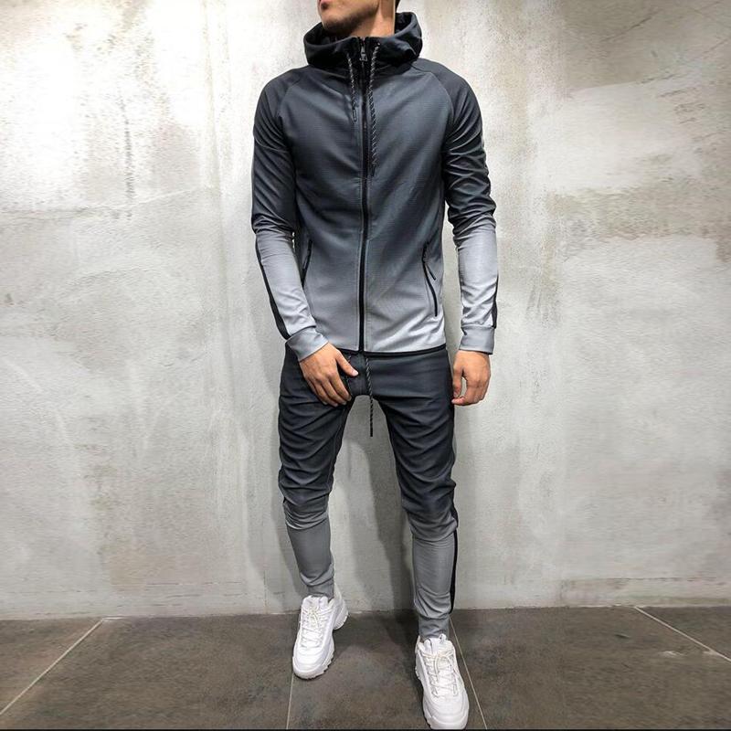 肌肉兄弟运动套装型男跑步健身训练裤收口小脚裤打底长裤休闲卫衣(非品牌)