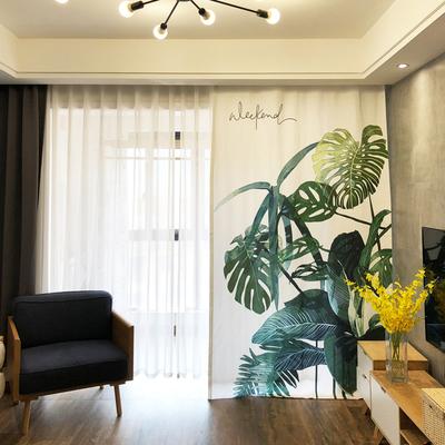 北欧风格窗帘ins风半遮光小清新成品简约客厅卧室植物绿植芭蕉叶