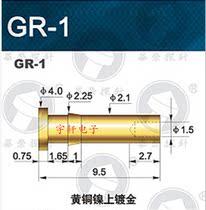 华荣探针GR-1 4.0平头界面针 弹簧顶针母座 铜质镀金 100支