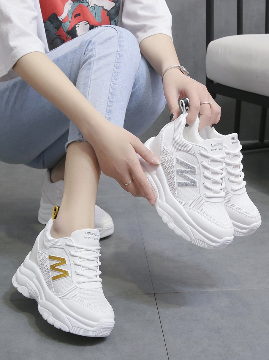 Hong Kong fashion brand 2020 summer thick bottom inside heightening small white shoes breathable thin high heels sneakers thin mesh womens shoes