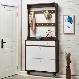 超薄鞋柜家用门口大容量实木衣架