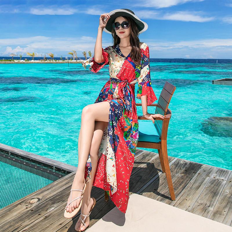 海边度假红色沙滩裙女夏2018新款泰国民族风长裙巴厘岛雪纺连衣裙