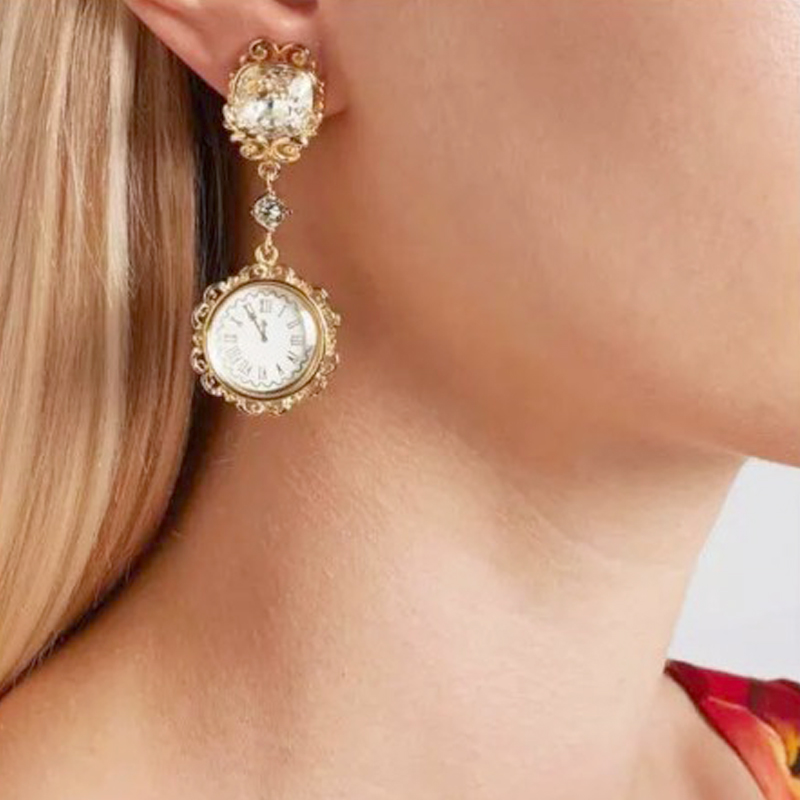 European and American New Baroque fashion crystal chandelier earrings earrings exaggerated retro diamond crystal palace lantern Earrings