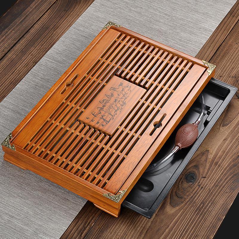 实木制茶盘抽屉式茶托盘整套小号储水复古简约长方形家用茶台清仓