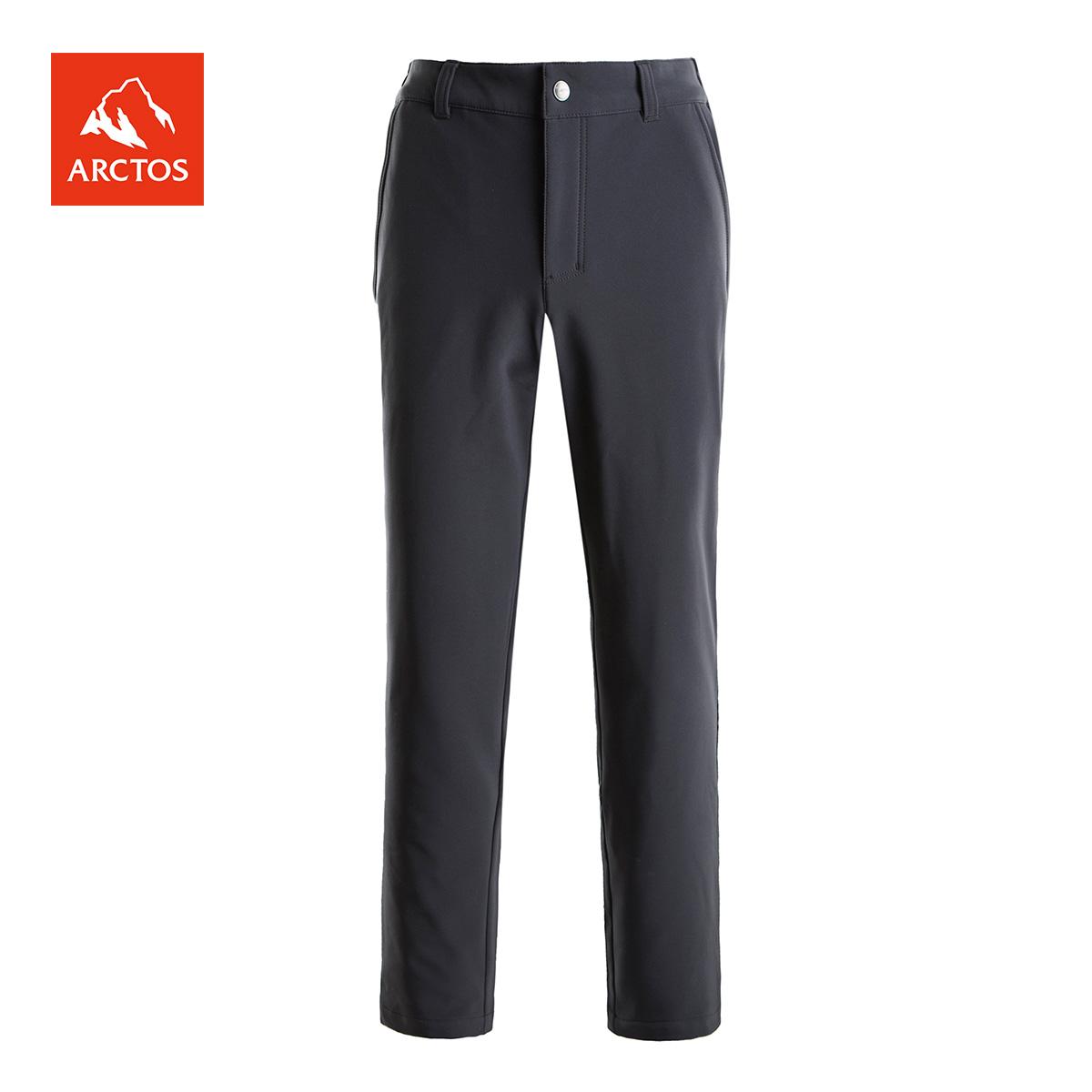 极星 男款户外软壳裤加绒保暖弹力舒适防风软壳长裤 AGPC21217