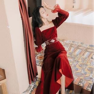 法式赫本小紅裙小禮服平時可穿裙子輕熟風氣質洋氣宮廷復古連衣裙