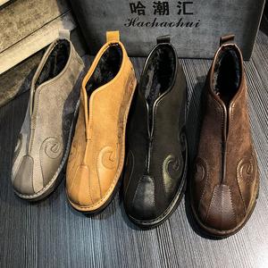 冬季男鞋一脚蹬加绒中国风棉鞋社会小伙鞋子保暖老头鞋软底懒人鞋