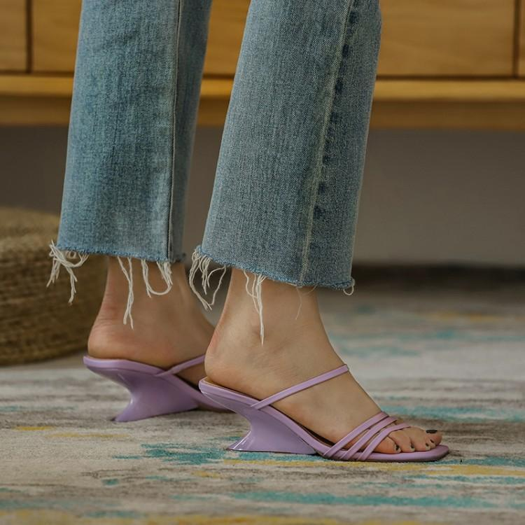Net red taro purple one line drag women wear leather profiled heel high-heeled sandals summer new comfortable sandals thick heels