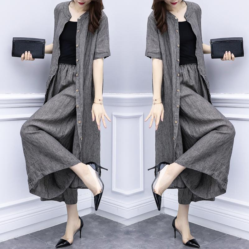 2018新款女装夏装两件套裤条纹开衫上衣阔腿裤休闲时尚套装女大码