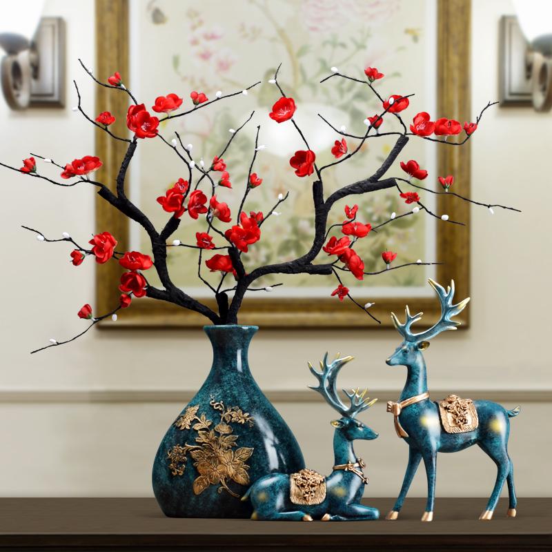 高档创意玄关花瓶摆件新婚礼品欧式家居客厅电视柜酒柜装饰品插花