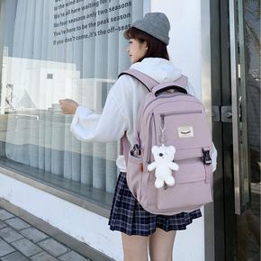 中学生书包女大学生韩版高中生初中生大背包简约双肩包大容量结实