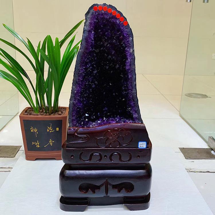 天然巴西紫水晶洞原石摆件心形乌拉圭紫晶簇恐龙蛋钱袋子镇店消磁
