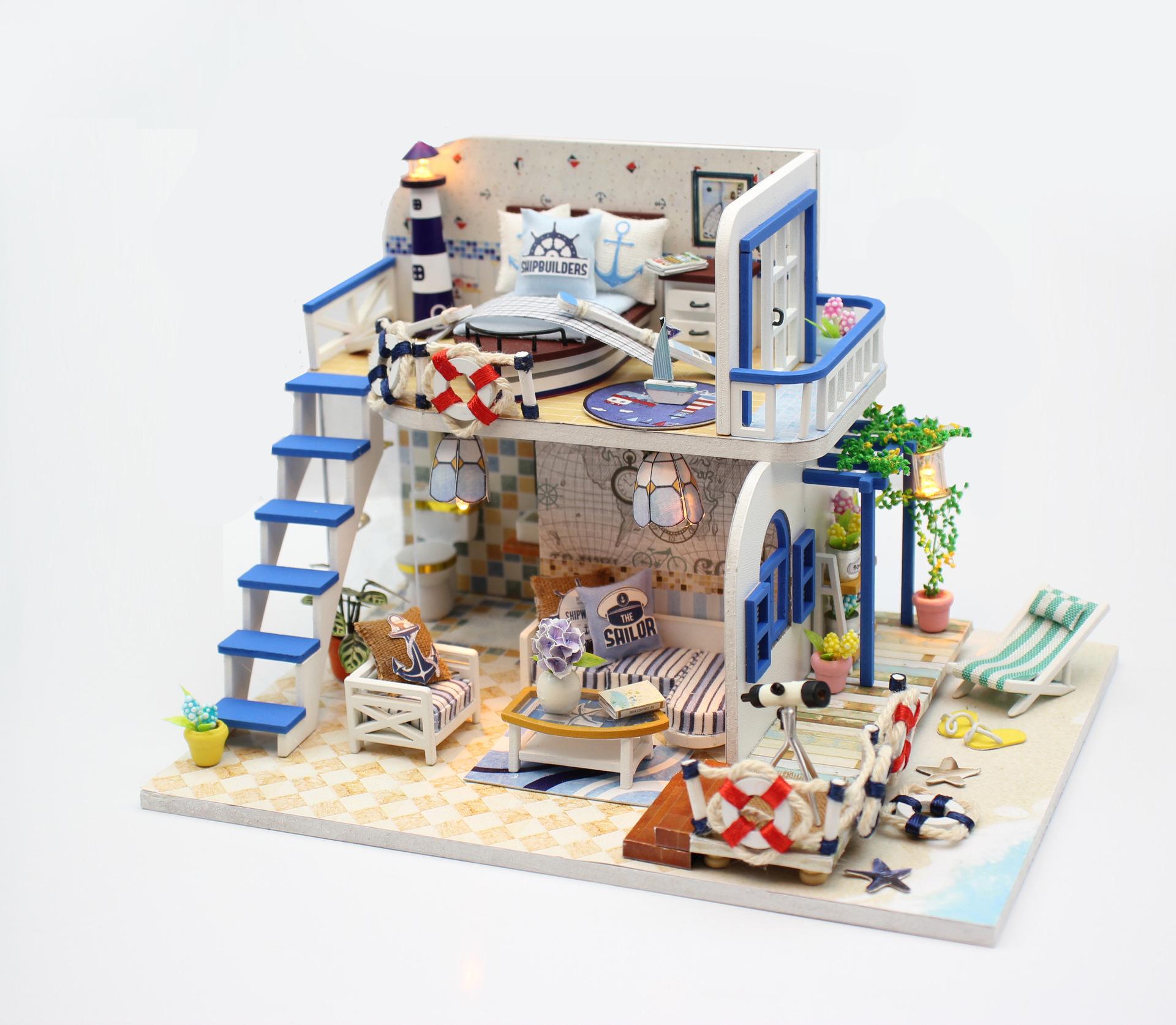 弘达DIY小屋浅蓝海岸粉黛阁楼手工拼装模型娃娃屋创意礼品包邮