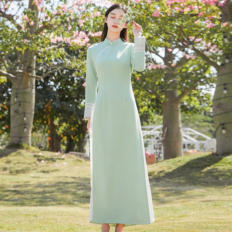 苏幕新中式复古春季原创女装改良旗袍显瘦立领花边奥黛茶服连衣裙