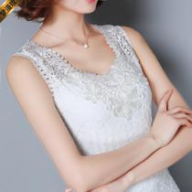 2020夏装大码吊带背心雪纺衫蕾丝花边打底衫女装绣花超仙上衣T恤