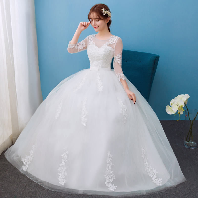 2922f8a9ed9 Wedding dress 2017 New style Korean one word shoulder Princess Bride Wedding  Show skinny double shoulder long sleeve wed