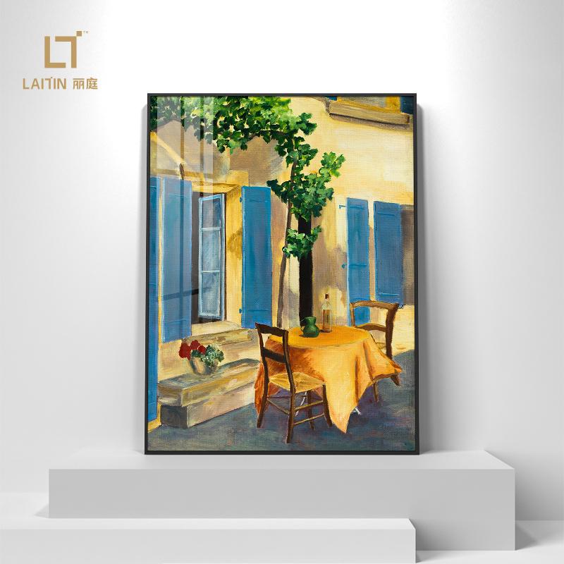 客厅玄关书房装饰画现代简约风景画伊莉斯·帕米贾尼-蓝色百叶窗