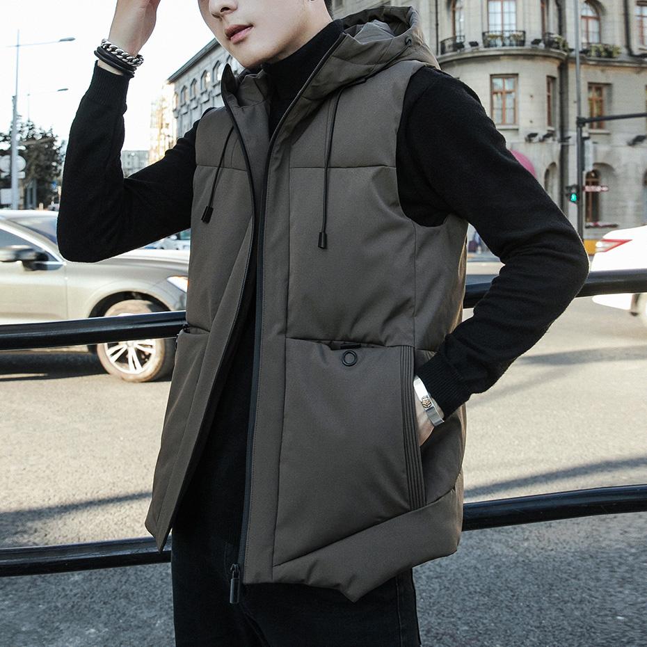 Down cotton vest mens autumn and winter Korean version fashion waistcoat handsome warm vest mens coat autumn sleeveless vest