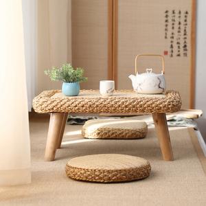 现代日式简约藤编草编地坐式飘窗小茶几炕桌榻榻米茶台炕几矮桌子