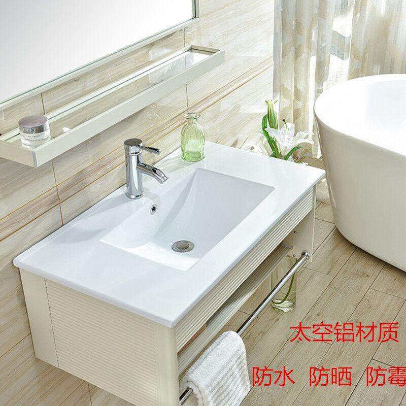 10月21日最新优惠挂墙式洗脸盆太空铝卫生间洗漱台陶瓷洗手盆小户型浴室柜组合面池