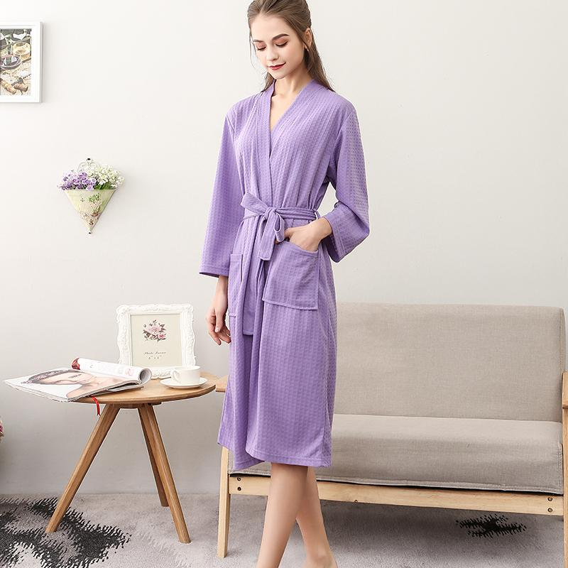 Thin waffle bathrobe womens middle and long water absorption spa Nightgown womens spring and autumn sexy bathrobe pajamas