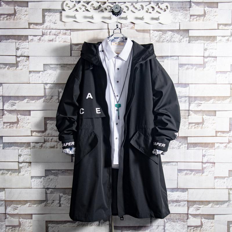 帅气青年黑色连帽中长款外套男秋冬季潮牌风衣夹克19A白糖玫瑰W